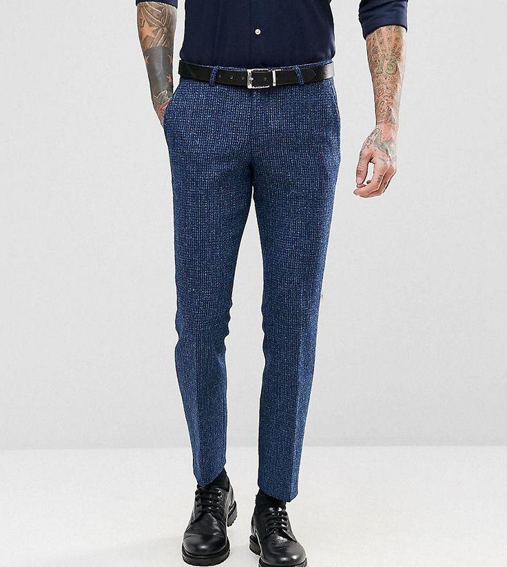Noose & Monkey Harris Tweed Super Skinny Suit Pants In Dogstooth - Blu