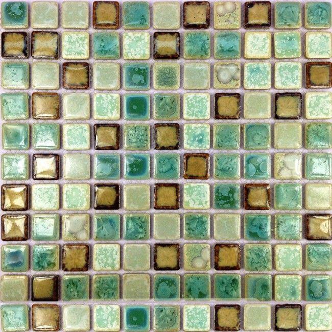 TST Ceramic Mosaics Fambe Shower Floor Kitchen Backsplash Green Glossy Tiles