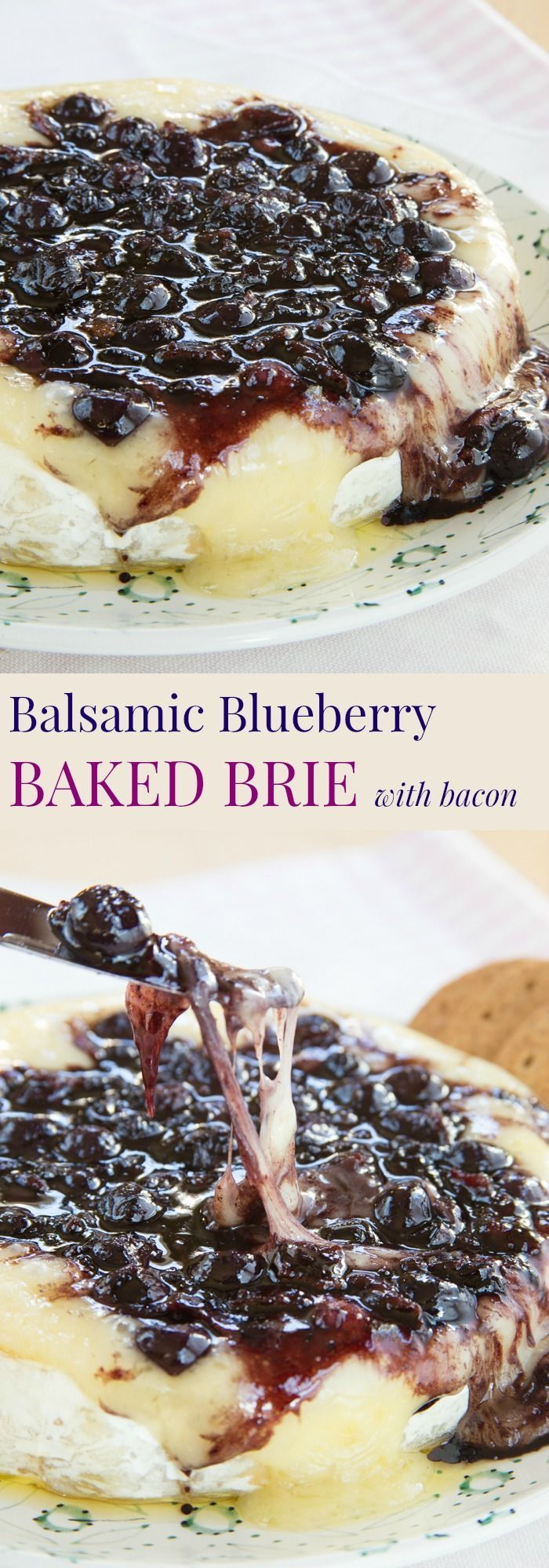 Balsamic Blueberry Baked Brie Recipe with Bacon - an ooey gooey cheesy appetizer recipe with the perfect combo of sweet and savory. A yummy party recipe! #ad | cupcakesandkalechips.com | gluten free