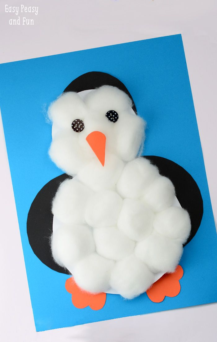 Cotton Balls Penguin Craft - cute and easy to make penguin craft to include in winter study!