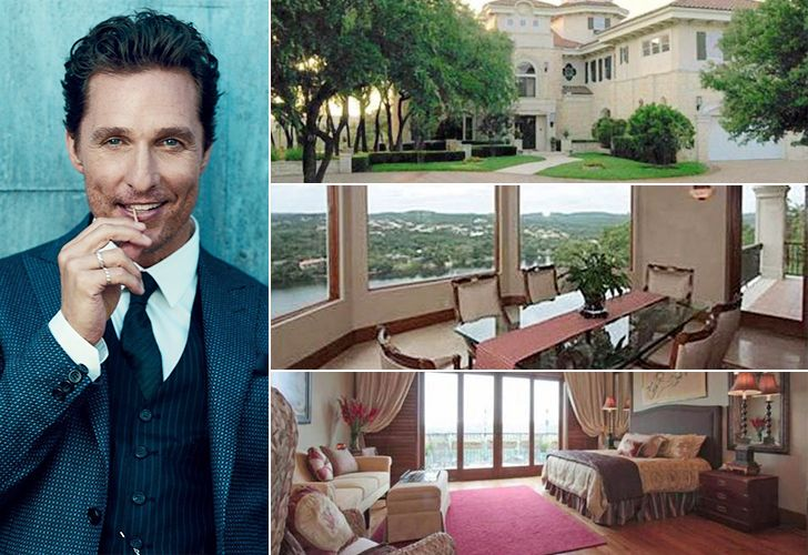"Matthew McConaughey's $4 Million, Austin mansion is located in the Rivercrest area of Austin, Texas near Lake Austin. This ""Spanish Mediterranean"" estate is over 10,000 sq-ft with 7 bedrooms, 8 bathrooms, an elevator, a gated long drive with two circular motor courts, and docking for boats."