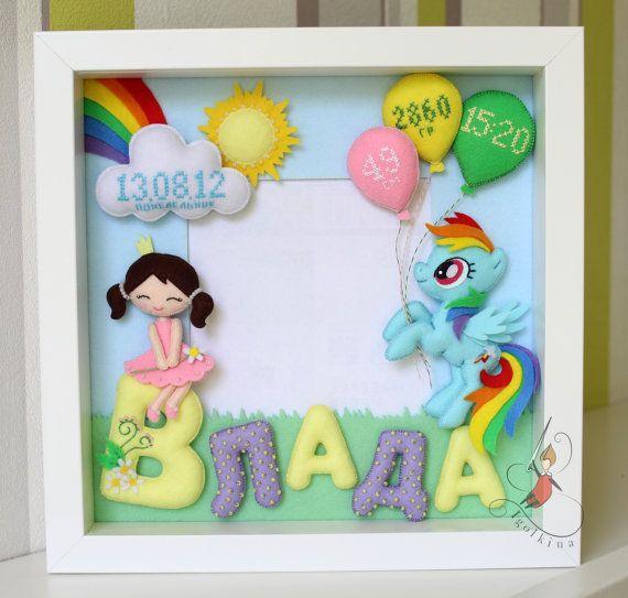 Bebé marco decorativo personalizado fieltro por IgolkinaHandMade