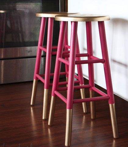 Easy  Creative Decor Ideas - Gold Dipped Bar Stools - Click Pic for 38 DIY Home Decor Ideas on a Budget