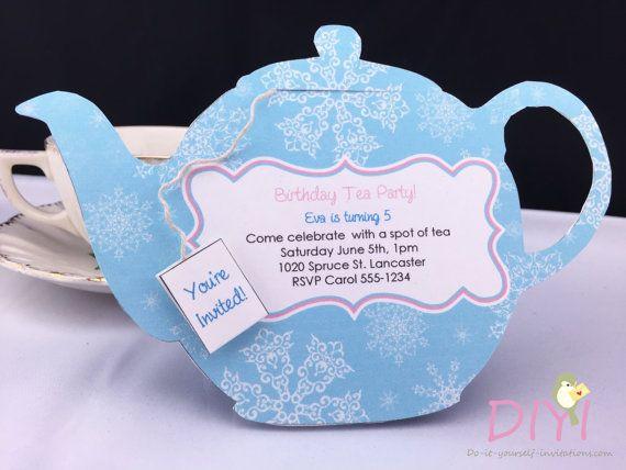 printable tea party invitation disney frozen invitations. Black Bedroom Furniture Sets. Home Design Ideas