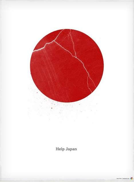 Another Japan tsunami poster. As a graphic symbol the Japanese flag is a gift