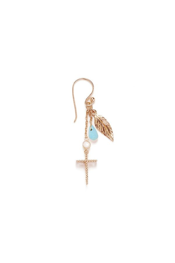By Charlotte - Rose Gold Turquoise Sacred Feather Earrings