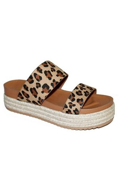 e27861d71d5 Two Strap Low Flat Espadrille Wedge Sandals-Leopard Print in 2019 ...
