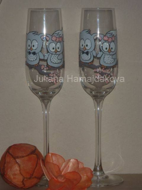 Jessica . Price 30 eur . Exclusive hand-painted wedding cups by Juliana Hamajdak. www.malovaneumenie.sk