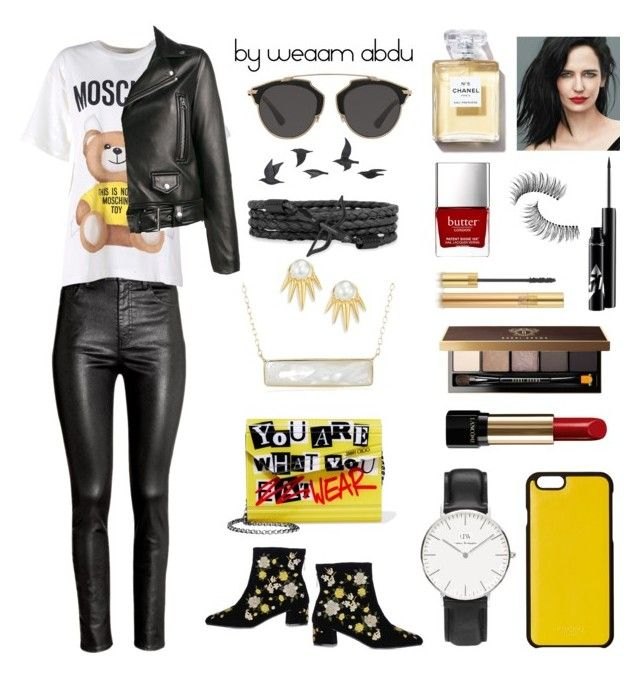 """Yellow. Black. Red"" by weaam-abdu on Polyvore featuring Topshop, H&M, Moschino, Acne Studios, Blue Nile, Jimmy Choo, Lancôme, Daniel Wellington, Knomo and Bobbi Brown Cosmetics"