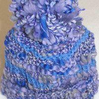 čepička, ručně pletená; baby blue cap, handmade, knitting