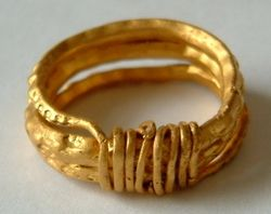 Late Anglo-Saxon period. The ring is formed from a three-turn coil of gold wire, the ends of which are tapered, and both of which are wound transversely around the band. The form of the ring is snake-like, and the body is decorated from end to end with crescentic punched marks, which are probably intended to represent scales and enhance this impression. The ring is of a type that is associated with the Vikings, and was popular during the 9th and 10th centuries AD.