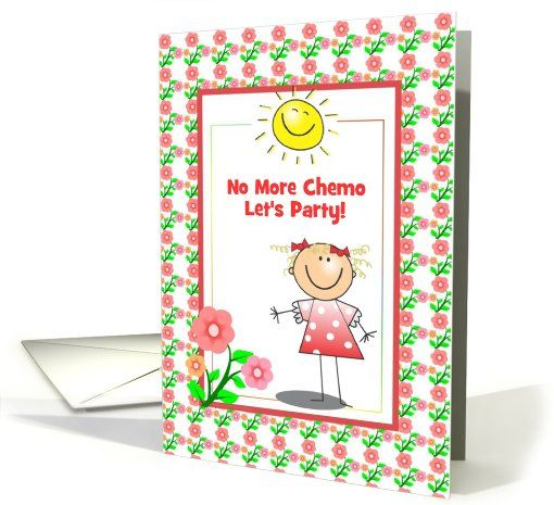No More Chemo-Party Invitation-Girl-Flowers-Sun card (909113)