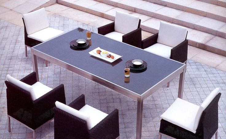 Sleek and modern outdoor dining set