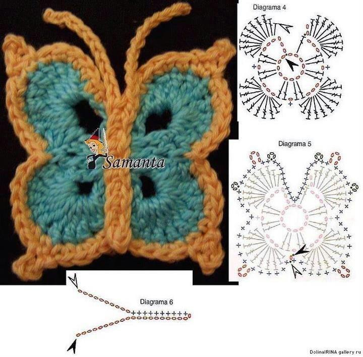 88 mejores imágenes de Crochet Butterfies en Pinterest | Patrones de ...