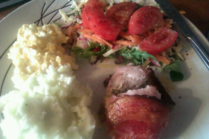 Chicken pesto and Bacon with mash and a salad