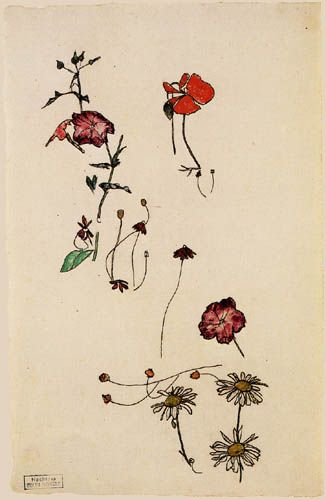 Egon Schiele  - Study of flowers