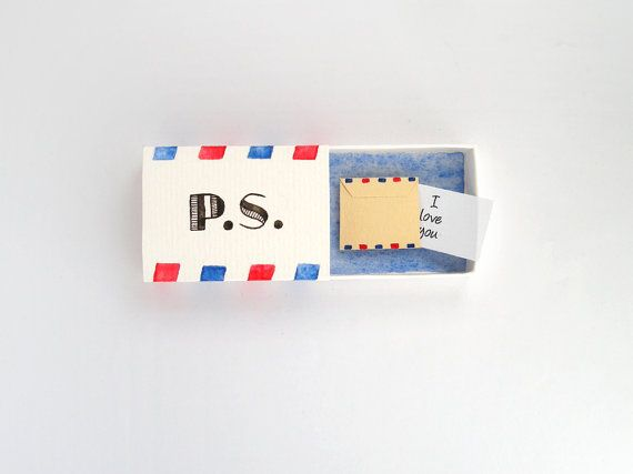 Ps I love you, love mail, boyfriend gift, girlfriend gift, love card, matchbox art, message box, you've got mail, anniversary gift, for him