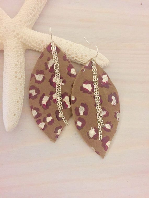 Leopard Print Earrings - Leather Leaf Earrings - Animal Print Earrings - Genuine Leather - Metallic Print Earrings - Large Earrings