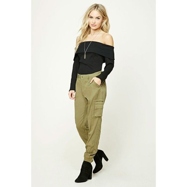 Forever21 Contemporary Cargo Pants ($28) ❤ liked on Polyvore featuring pants, olive, olive cargo pants, olive green pants, white pants, military green pants and white trousers