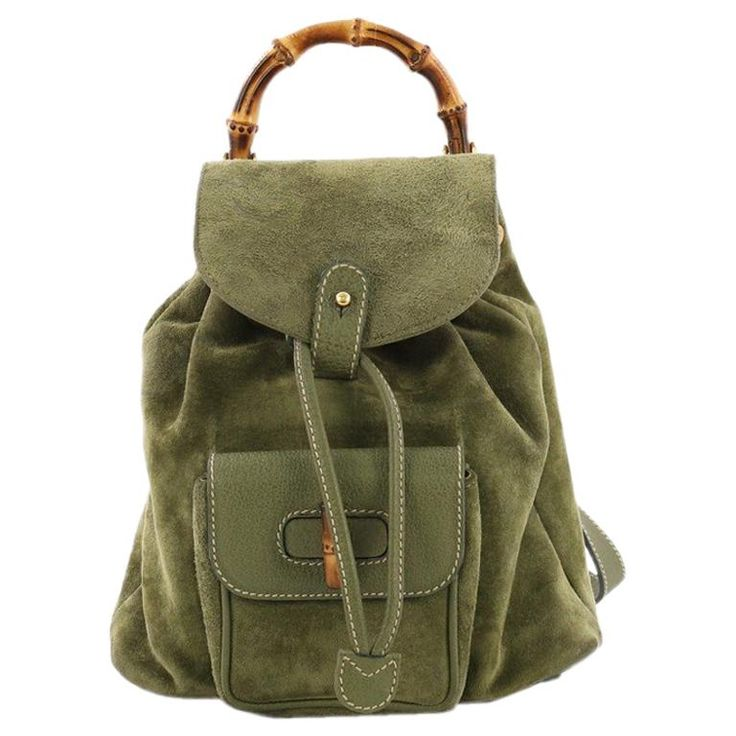 8441f2e5013 Gucci Vintage Bamboo Backpack Suede Mini - Today Pin