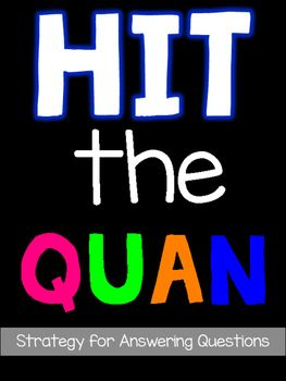 Are you ready to help your students answer tough questions? Get ready to ... HIT THE QUAN Q - read the entire questionU - underline important words or phrasesA - answer the questionN - note evidence