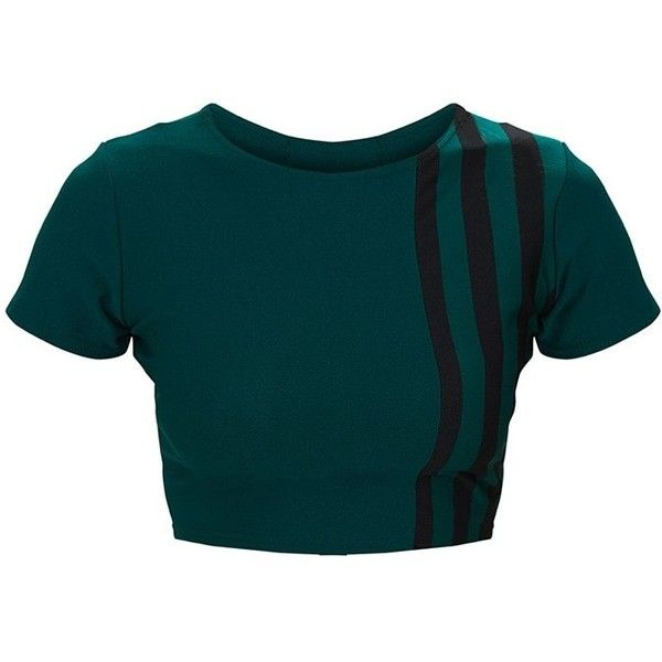Forest Green Stripe Panel Round Neck Crop Top ($12) ❤ liked on Polyvore featuring tops, blue crop top, striped top, stripe crop top, sports tops and sport crop top