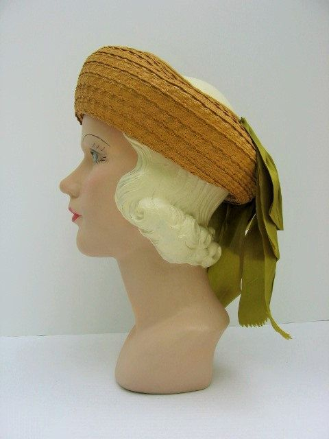 SALE 1940's Straw Open Crown Hat with Olive by BrionyLodgeVintage