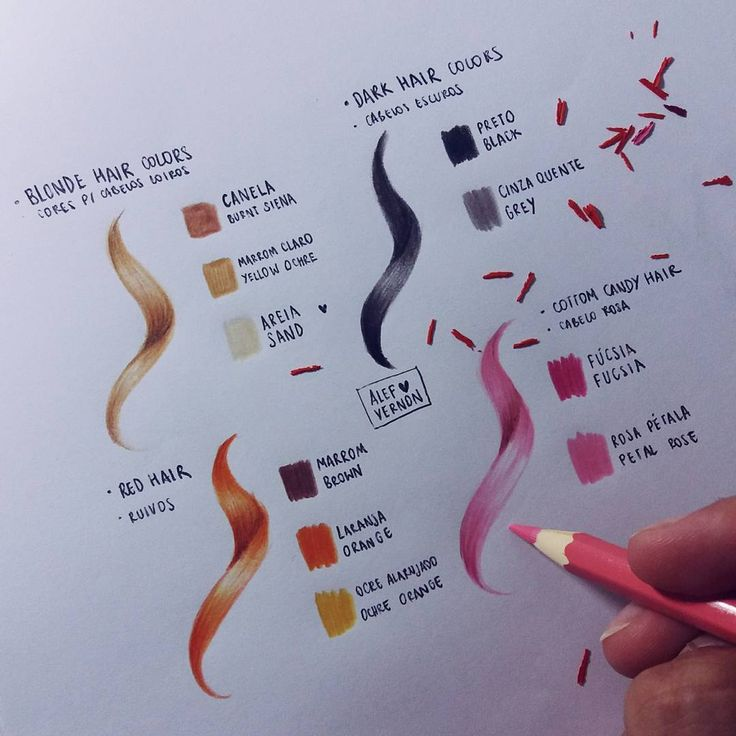 """11.7k Likes, 60 Comments - Alef Vernon (@alefvernonart) on Instagram: """"A little tutorial of hair colors (the name of the colors are based on Faber-Castell 60 colors…"""""""