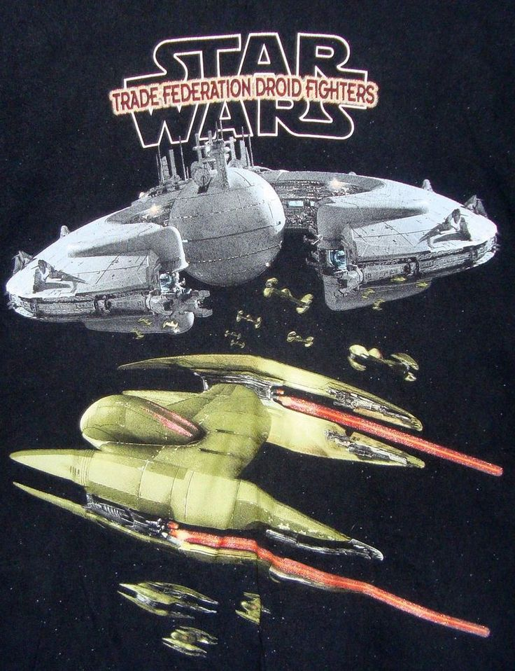 Star Wars Trade Federation Droid Fighters Graphic T-shirt 2XL Black Cotton SS #StarWars #GraphicTee