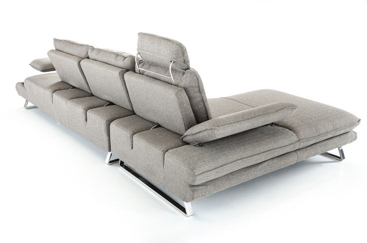 The Divani Casa Porter Modern Grey Fabric Sectional Sofa presents a modish smart design featuring a left facing chaise and a single headrest upholstered in smooth grey fabric. Optimum comfort is offered by the 3 adjustable backrests that move forward and backward and adjustable armrests. Stainless steel legs provide stable support.