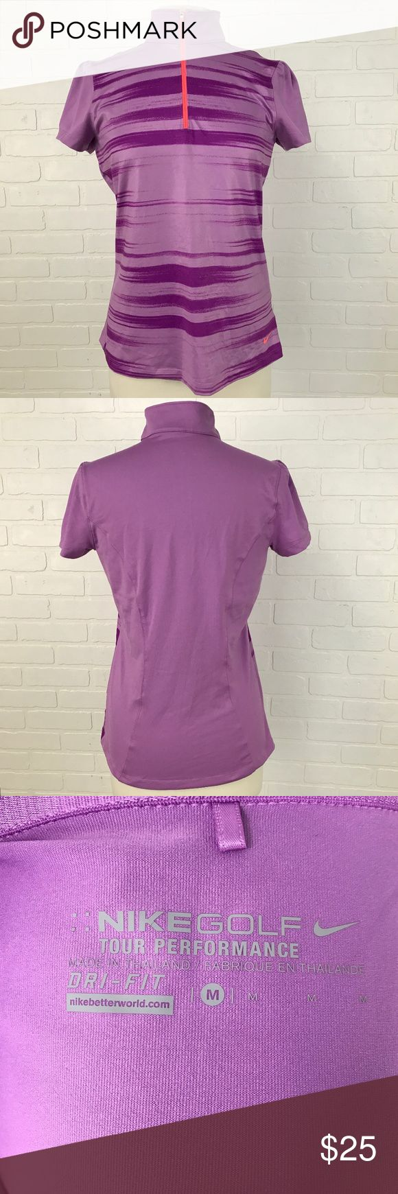 Nike Golf Dri Fit Women's Purple Shirt Top Neon BRAND                    :Nike		 SIZE	                 :Women's Medium		 STYLE	                 :Shirt - three quarter Zip	 COLOR	                 :Purple MATERIAL              :87% Polyester 13% Spandex MEASUREMENTS :Chest 18 Sleeve 6.5		 Condition               : Gently Worn	 Inventory                : MQ49 B2 Nike Tops Tees - Short Sleeve
