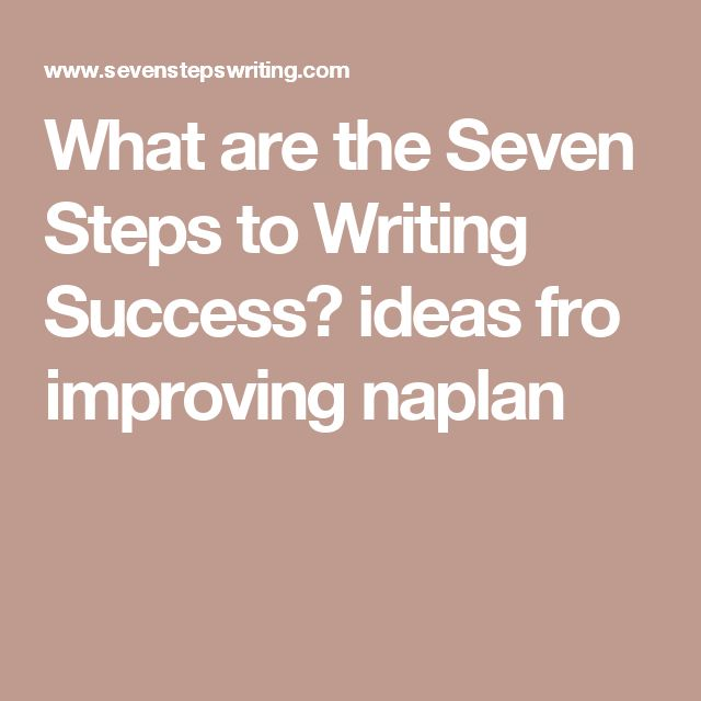 What are the Seven Steps to Writing Success? ideas fro improving naplan