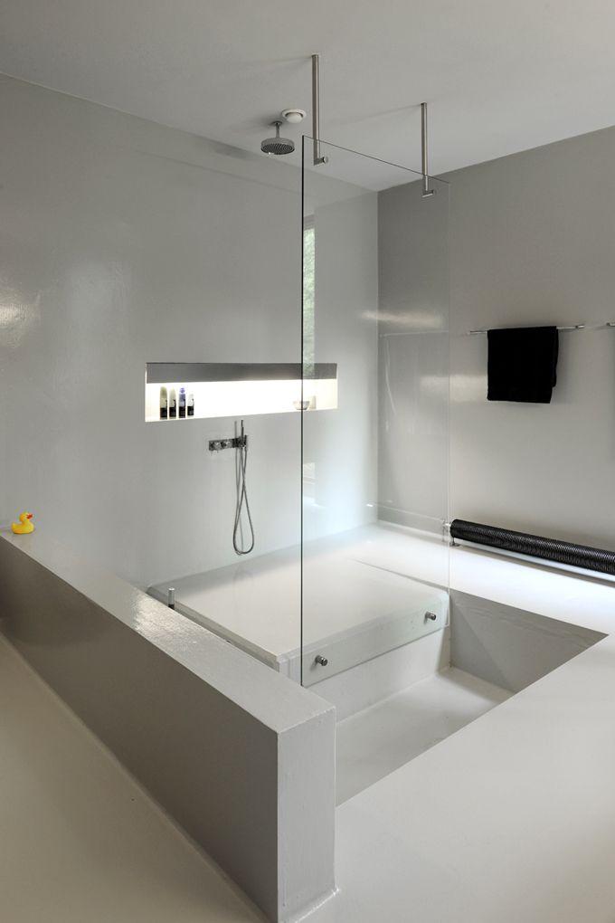 sunken bathtub | connected with shower | photo by serge brison