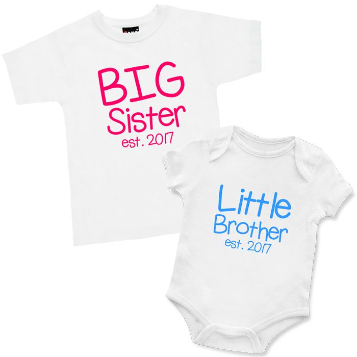 Big Little Est. *year* T Shirt and Onesie Set