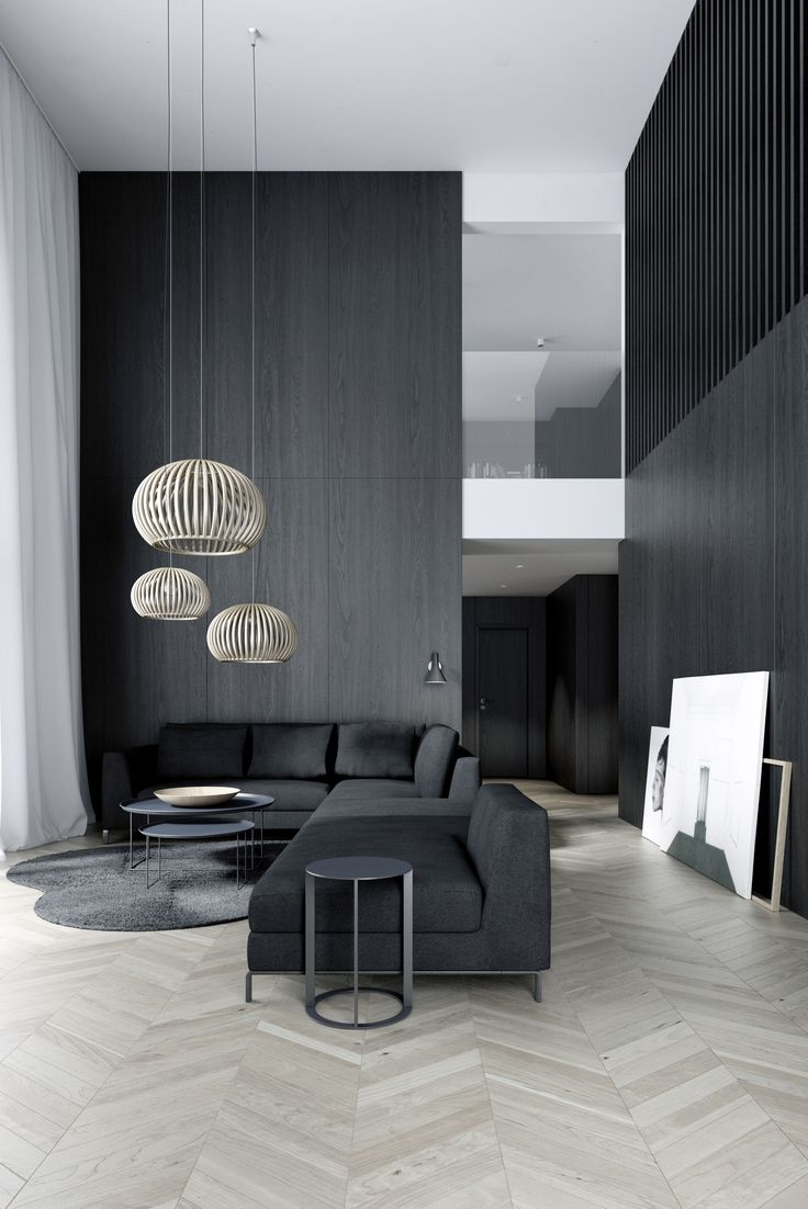 Easst Living Room Double Height Space With Black Wood Walls And French Grey Interior DesignApartment