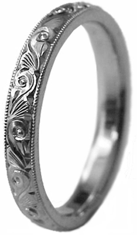 New HAND ENGRAVED Lady's Palladium (Platinum group metal) 3mm wide Wedding Band ring Cmfort Fit