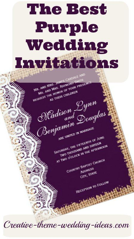 Find the best purple wedding invitations for your celebration. Rustic, modern, lace, fun and original designs. http://www.creative-theme-wedding-ideas.com/purple-wedding-invitations.html
