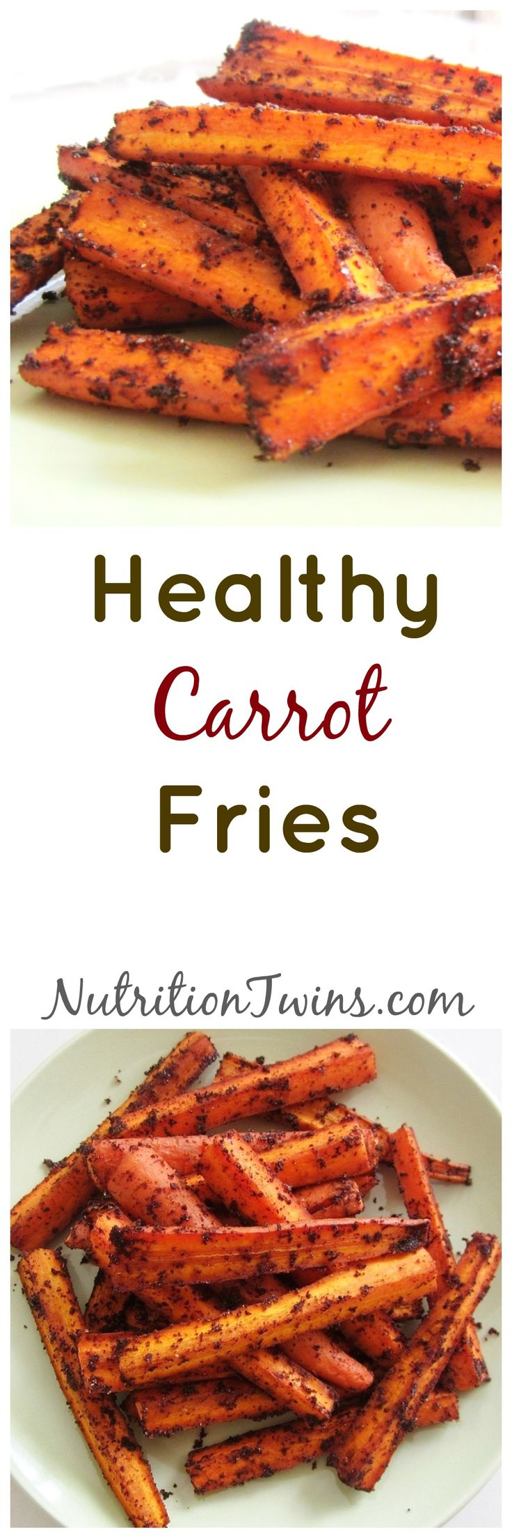 """Carrot """"Fries""""   Only 71 Calories   Crispy, Sweet & Savory Substitute for Greasy Fries  For Nutrition & Fitness Tips & RECIPES please SIGN UP for our FREE NEWSLETTER www.NutritionTwins.com"""