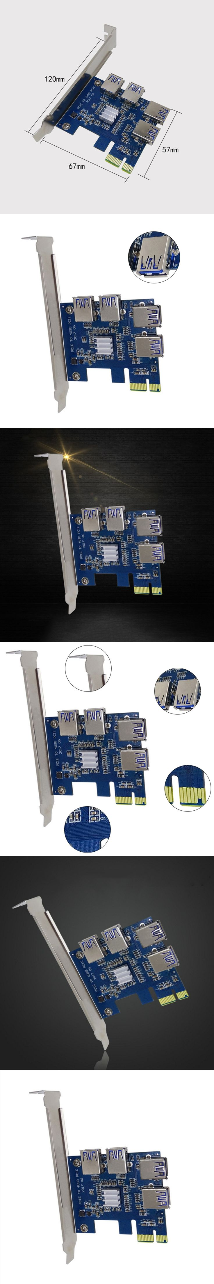 PCI-E PCI Express Riser Card Expand Card Board PCIE 1 to 4 USB Adapter Card 1x to 4-port 16x Adapter For Bitcoin Mining Machine