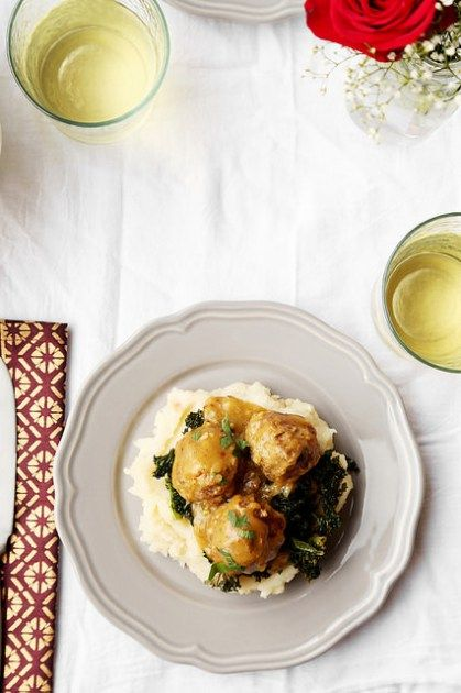 Dinner For Two Braised Meat Roasted Garlic Mashed Potatoes Roasted Kale Celebrate
