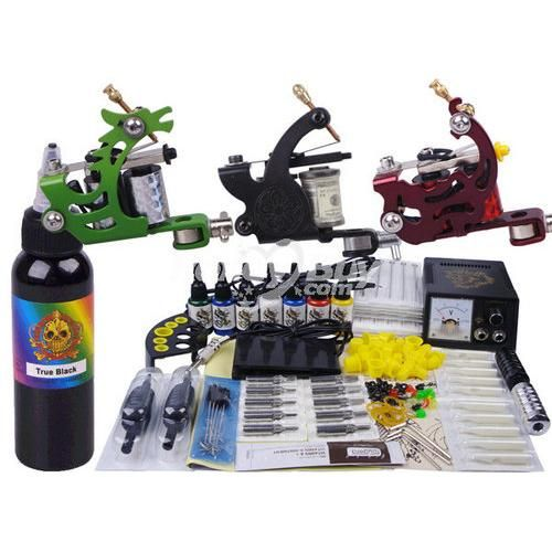 Product Name : Nice Finish 3 Machines 7 Colors Cheap Tattoo Kits  What's in your tattoo kits ?    Guns   3 x tattoo gun  Power Supply   1 x power supply  Tattoo Ink   7 x color Ink