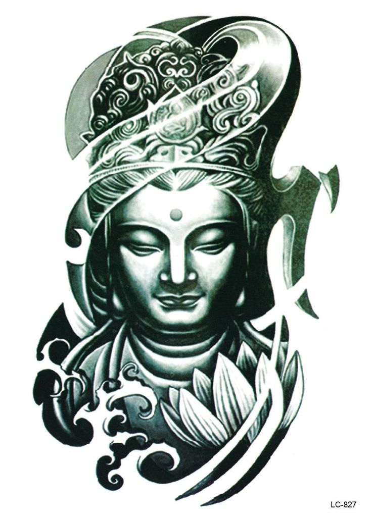 LC2827 21*15cm Large Big Tatoo Sticker Bronze Buddha Head Drawing Designs Cool…