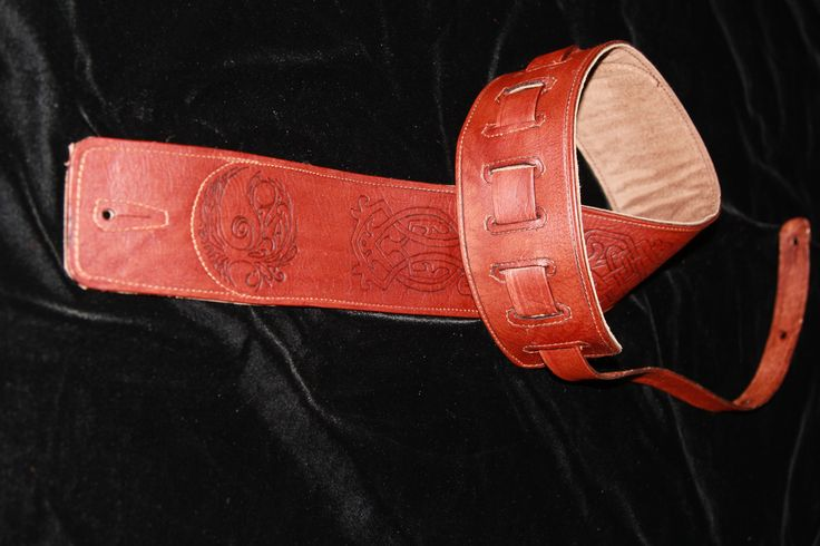 Tree of Life/ Celtic Knot Guitar Strap. Light Brown