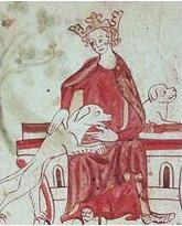 Jean sans Terre avec deux chiens de chasse dans une enluminure du XIIIe siècle