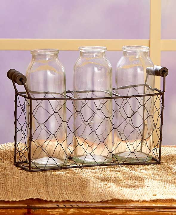 Country Glass Bottle Vases with Wire Basket Farmhouse Rustic Primitive Decor