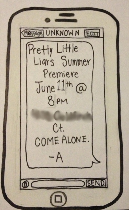 Pretty Little Liars viewing party invitation! Put in an envelope and write their name on the front and