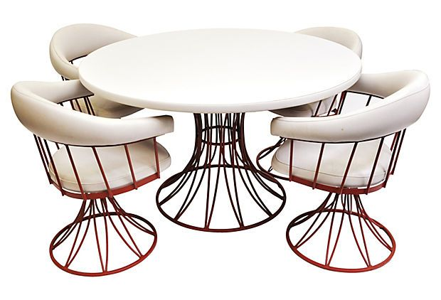 "1960s Dining Set, -""Unique five-piece midcentury dining set with iron base on chairs and table. Table is laminate and chairs are upholstered in white leather. """
