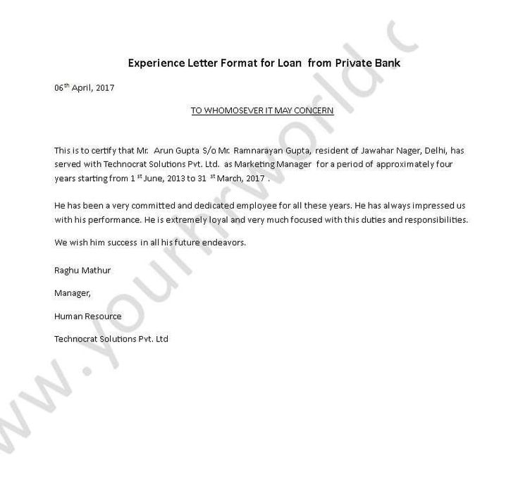 Experience certificate format letter experience letter format to experience letter format to submit to private bank for loan customize it and use it spiritdancerdesigns Gallery