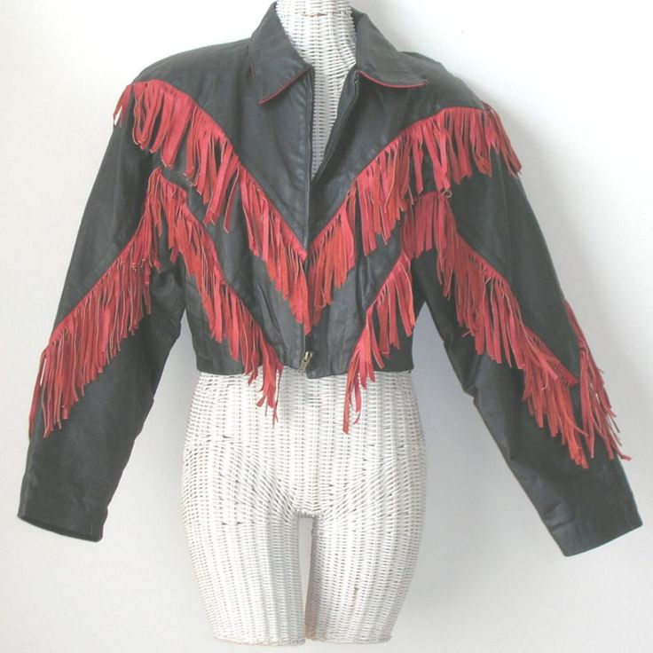 Vintage Womens Fringed Fringe Leather Biker Moto Bomber Jacket by NotSewIdle on Etsy