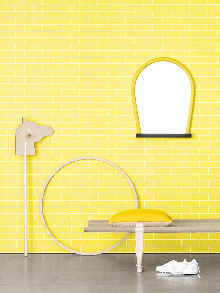 Bent mirror, yellow-natural, by Wrong for Hay. Susanna Vento for Photowall + Acne JR, photo Unto Rautio